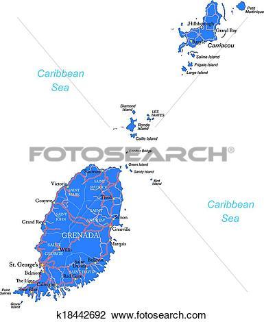Clipart of Grenada map k18442692.