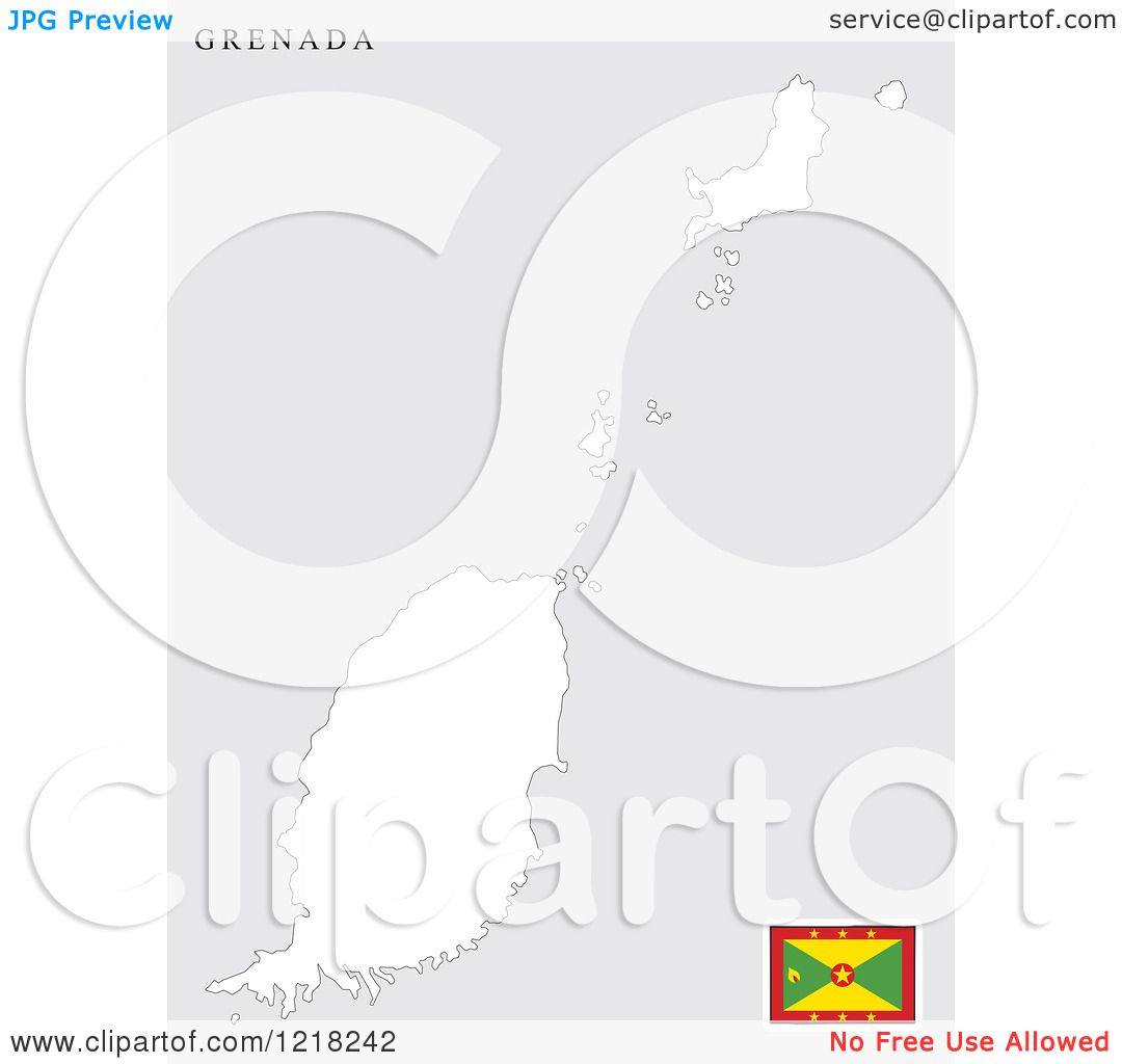 Clipart of a Grenada Map and Flag.