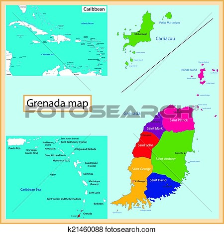 Grenada Map Clipart.