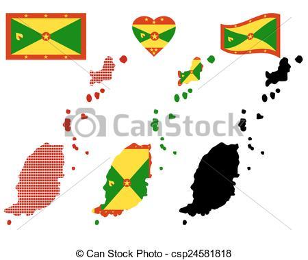 Vector Clip Art of map of Grenada.