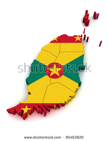 Grenada Map Stock Images, Royalty.