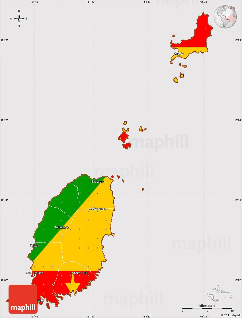 Flag Simple Map of Grenada.