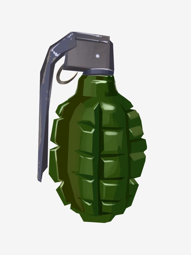 Military Grenade Decoration Illustration, Military Grenades, Green.