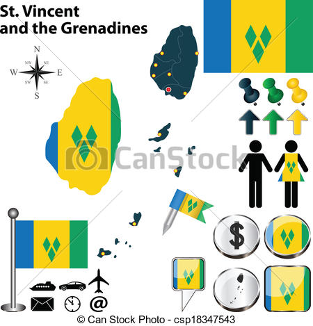 EPS Vector of Map of St. Vincent and the Grenadines.