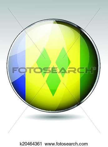 Clipart of Saint Vincent and the Grenadines flag button k20464361.