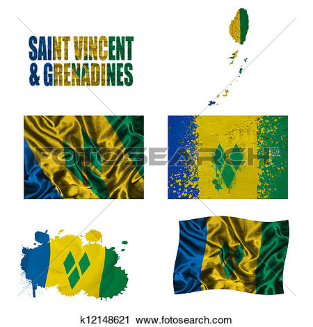 Clipart of Saint Vincent and the Grenadines flag collage k12148621.