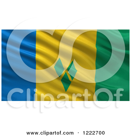 Clipart of a 3d Waving Flag of Saint Vincent and the Grenadines.