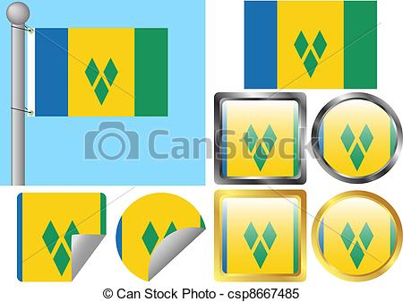 Clipart Vector of Flag Set Saint Vincent and The Grenadines.