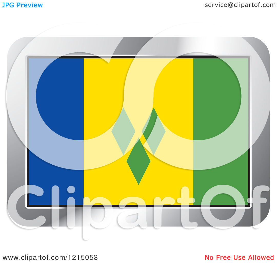 Clipart of a Saint Vincent and the Grenadines Flag and Silver.