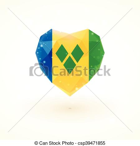 Clipart Vector of Flag of Saint Vincent and the Grenadines in.