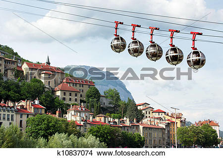 Stock Photo of Cable car to Fort de La Bastille, Grenoble, Isere.
