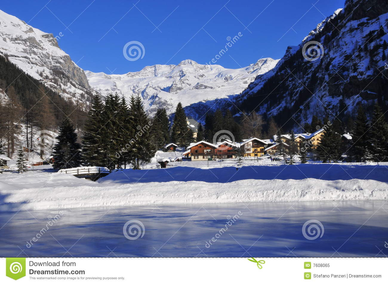 Gressoney Saint Jean Royalty Free Stock Photo.