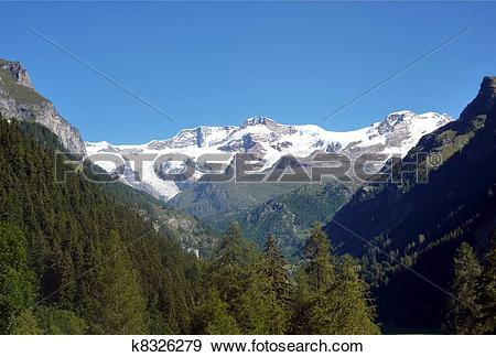 Stock Illustration of Monte Rosa (pink mountain). Italian side.