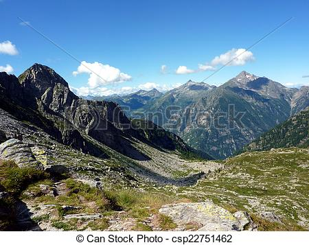 Stock Illustration of Italian Alps, valley of Gressoney.