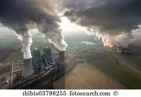 Aerial view coal power station cooling tower Stock Photo Images.