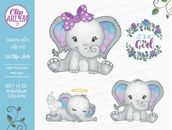 Purple Turquoise Elephant clip art, watercolor. Watercolor.