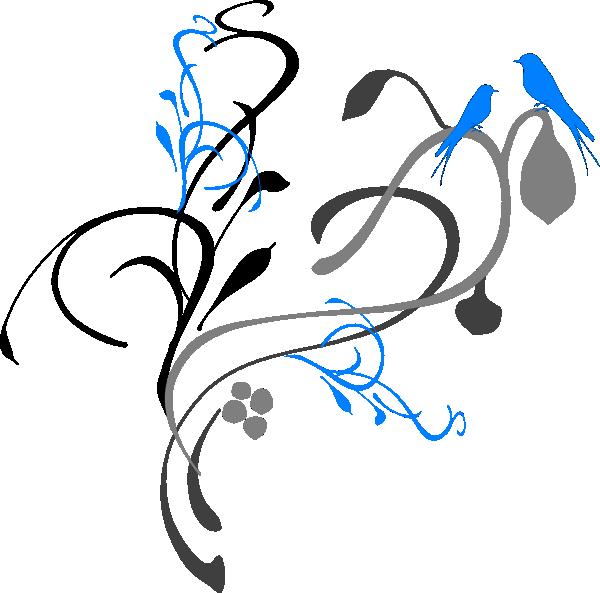 Birds On A Branch Grey/blue Clip art.