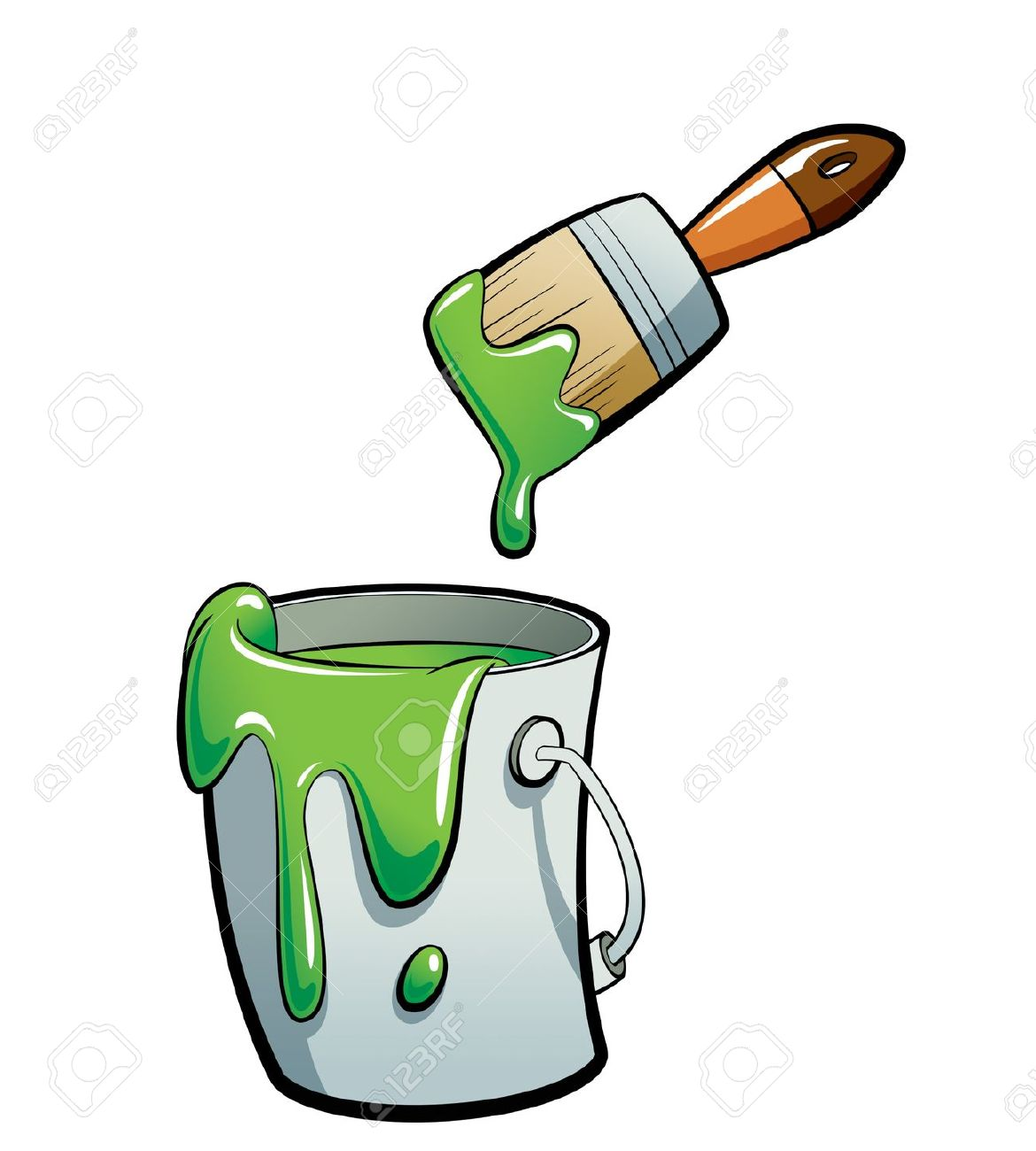 Cartoon Green Color Paint In A Grey Paint Bucket , Painting With.