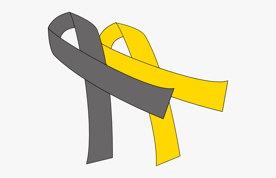 Grey And Yellow Cancer Ribbon Clipart , Png Download.