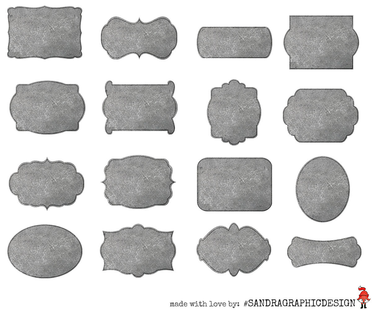 Concrete labels clipart, with 16 grey labels in different shapes.