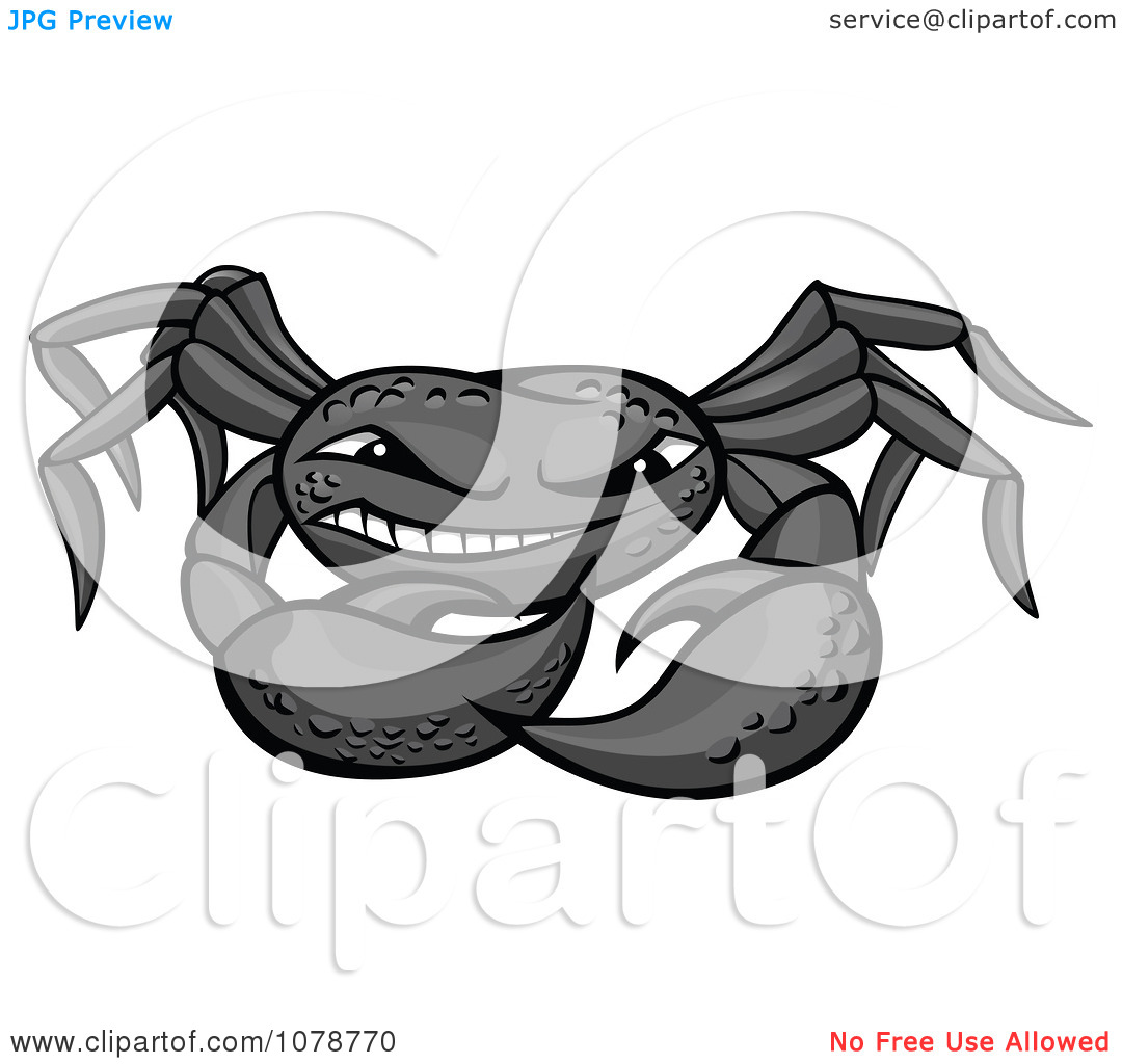 Clipart Grinning Gray Crab.