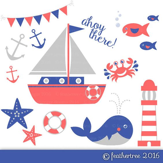 Red, Blue and Grey Nautical Clipart.