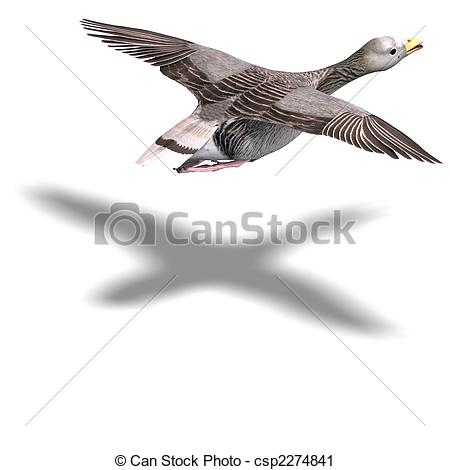 Clipart of grey goose in flight. 3D rendering and shadow over.
