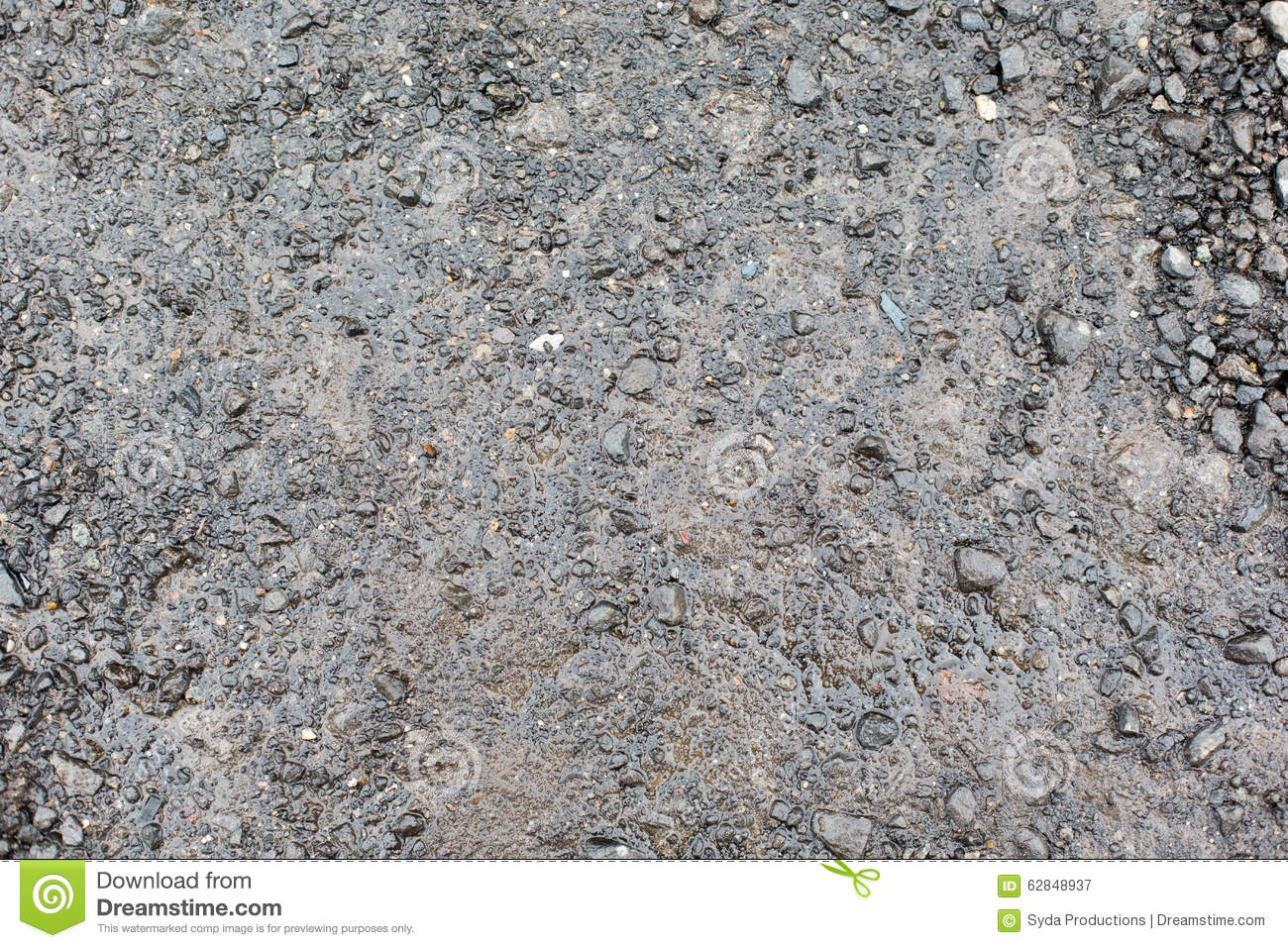 Close Up Of Wet Gray Gravel Road Or Ground Stock Photo.