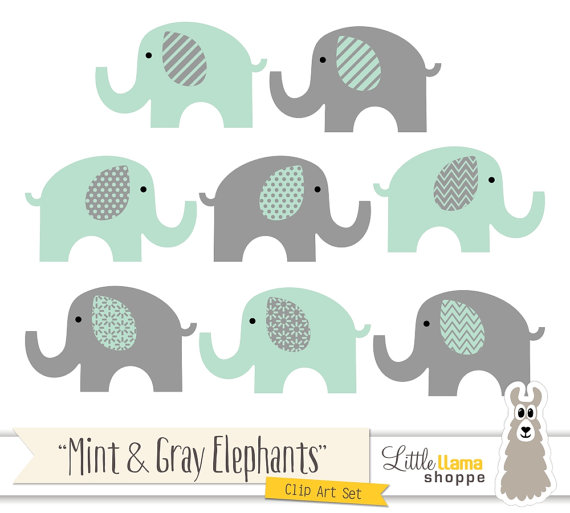 Mint and Grey Elephants Clipart Mint Green and Gray Nursery.
