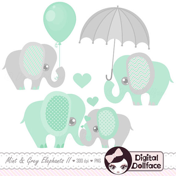 Baby Elephant Decor Clipart / Printable Elephant Baby Shower Clip.
