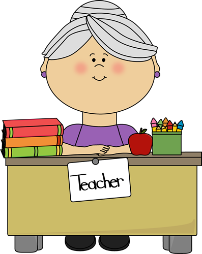 Teacher with Gray Hair Sitting at a Desk Clip Art.