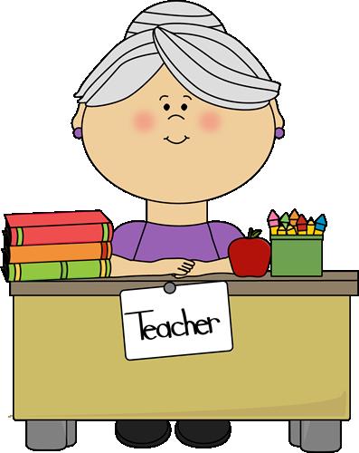 Teacher with Gray Hair Sitting at a Desk Clip Art.
