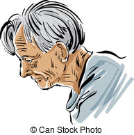 Clip Art Vector of Hand drawn old man illustration on white.