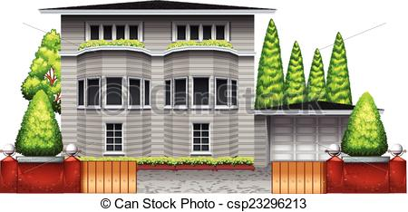 Vector Clip Art of A big grey house with plants and trees on a.