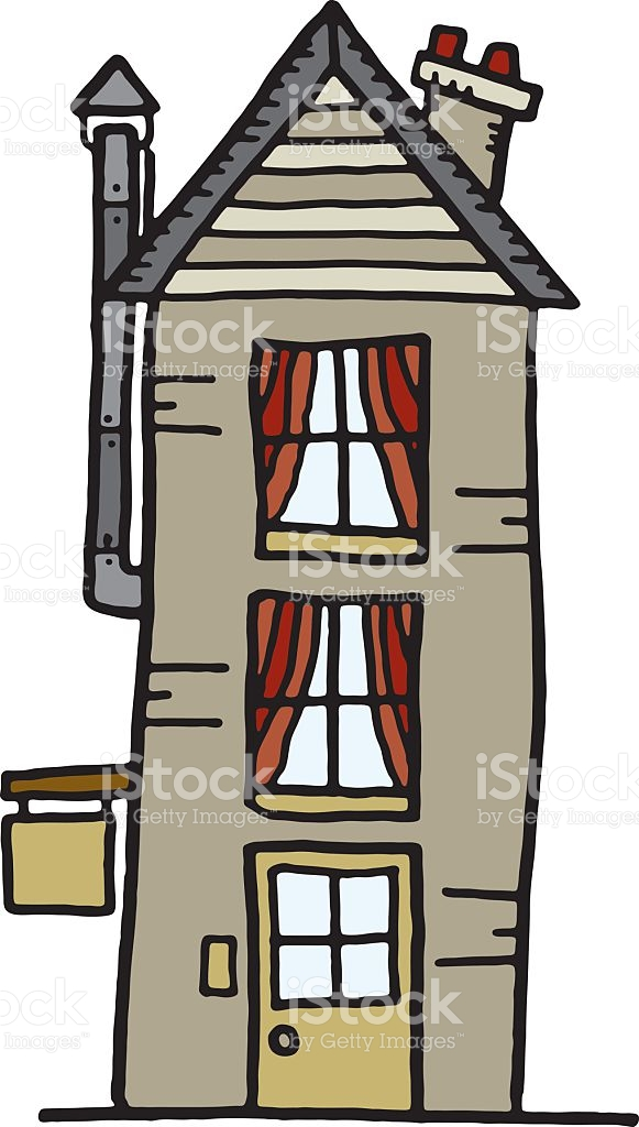 Tall Grey House Or Shop stock vector art 121604547.