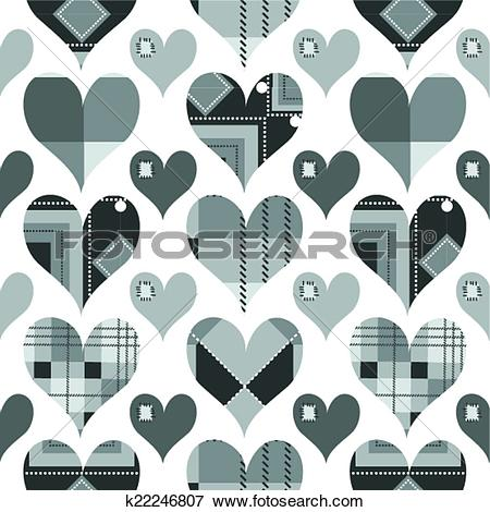 Clip Art of Hearts seamless pattern, black and white with grey.