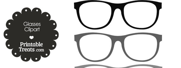 Glasses Clipart in Shades of Grey — Printable Treats.com.