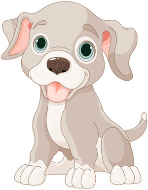 Clip Art Grey Puppy Dog.