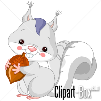 CLIPART GREY SQUIRREL WITH NUT.