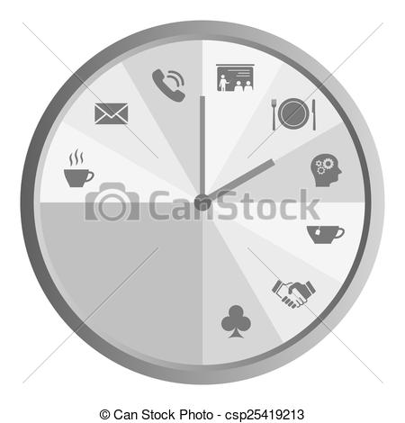 Vector Clip Art of Clock with work time icons grey.