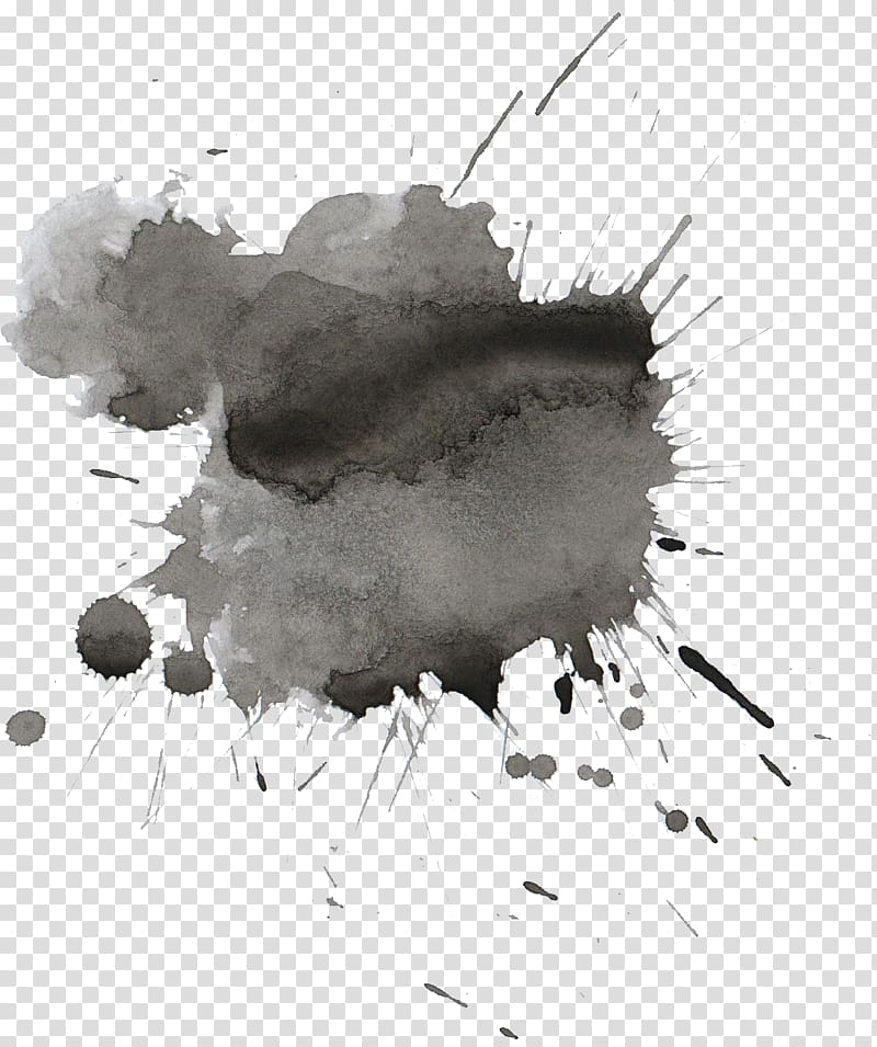 Gray and black paint drip illustration, Watercolor painting.
