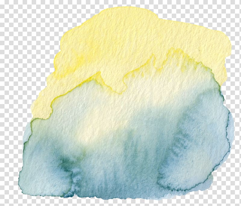 Yellow, blue, and grey abstract painting, Yellow Watercolor.