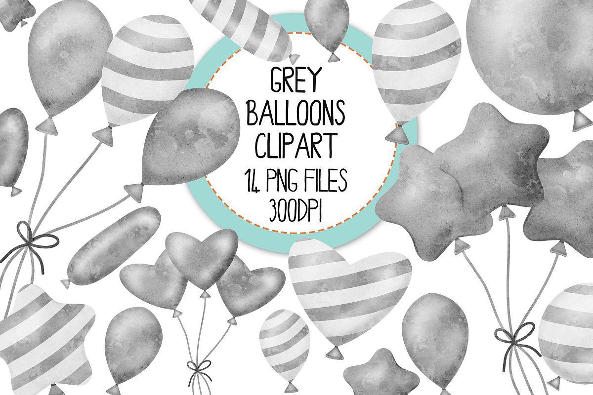 Grey Watercolor Balloon Clipart Set.