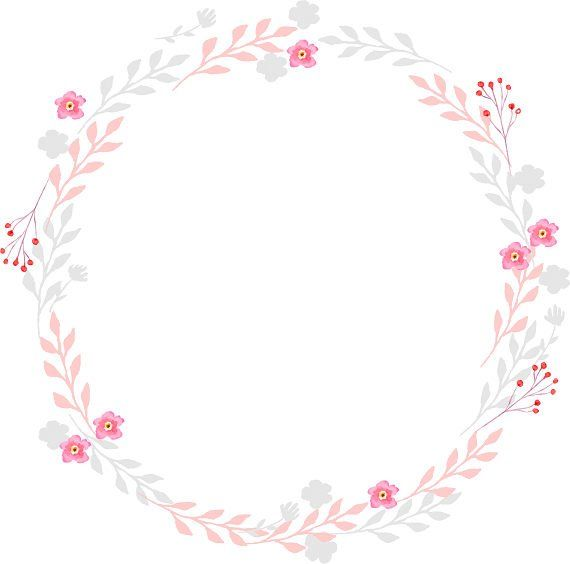 Pink and Gray Clipart Watercolor Wreath Watercolor Clipart.