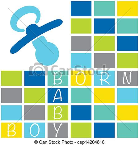 Vector Clip Art of Baby newborn birth announcement card boy with.