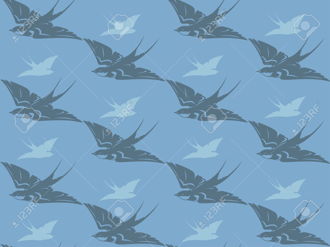Flying Swallows Seamless Background.