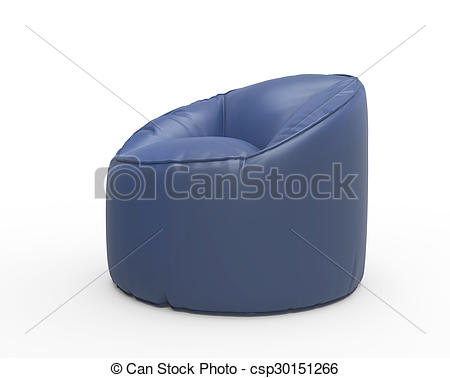 Stock Illustration of Greyish lazy chair isolated on white.