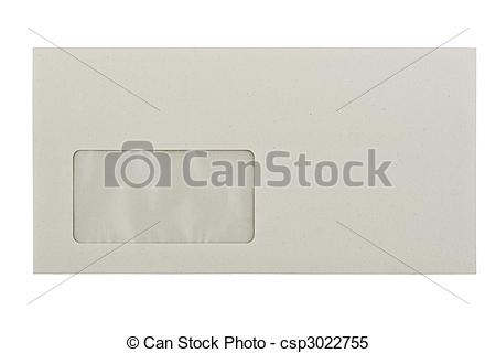 Stock Images of greyish Envelope with a window, isolated on white.
