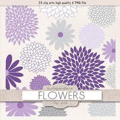 Gray & Purple Flower ClipArt, Modern Digital Flower Graphics.