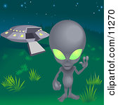 One Grey Alien With Green Eyes, Waving and Standing Near a UFO.